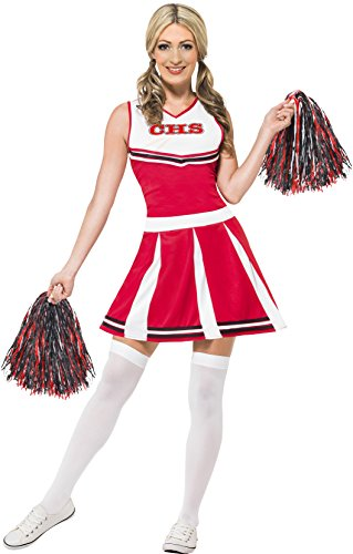 Smiffy's Women's Cheerleader Costume with Dress and Pom Poms