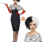 Smiffys-Womens-Evil-Madame-Costume-Dress-with-Gloves-Shrug-Cuff-and-Choker-BlackWhite-Small-0
