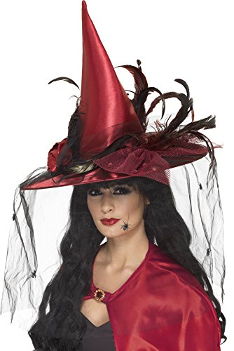 Smiffys Women's Red Deluxe Witch Hat