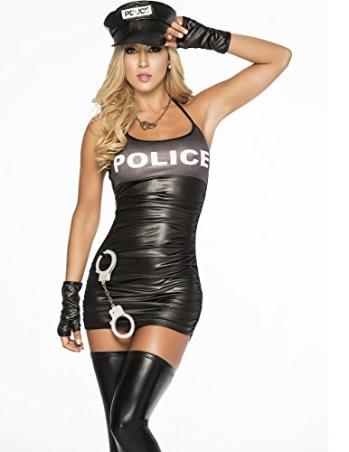 Strappy Open Back Cop Costume in Black