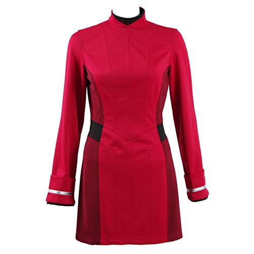 TISEA Female Captain Officer Duty Dress Cosplay Costume Red Uniform