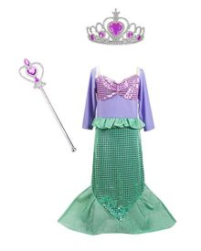TOKYO-T-Ariel-Costume-for-Kids-Little-Mermaid-Dress-Up-Halloween-Princess-with-Tiara-0