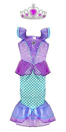 TOKYO-T-Ariel-Costume-for-Kids-Little-Mermaid-Princess-Dress-Up-with-Tiara-0