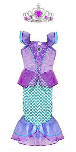 TOKYO-T Ariel Costume for Kids Little Mermaid Princess Dress Up with Tiara