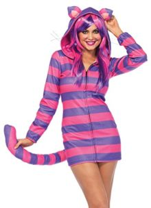UHC-Womens-Cheshire-Cat-Cozy-Striped-Zipper-Front-Fleece-Dress-Costume-0
