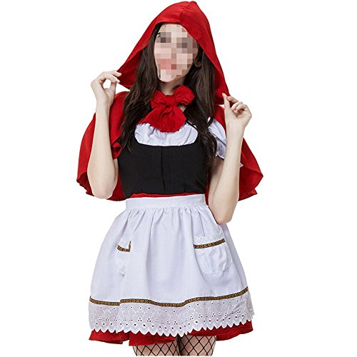 Vantina Women's Red Hood Costume Dress With Attached Hooded Cape