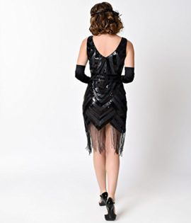 Vintage-1920s-Style-Black-Sequin-Beaded-Deco-Short-Fringe-Flapper-Dress-0-0