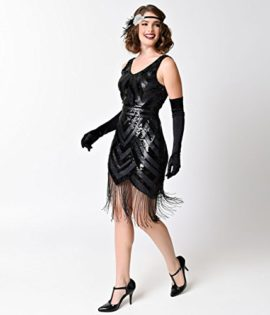 Vintage-1920s-Style-Black-Sequin-Beaded-Deco-Short-Fringe-Flapper-Dress-0-2