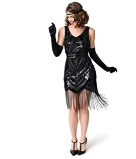 Vintage-1920s-Style-Black-Sequin-Beaded-Deco-Short-Fringe-Flapper-Dress-0