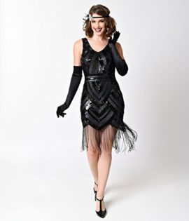 Vintage-1920s-Style-Black-Sequin-Beaded-Deco-Short-Fringe-Flapper-Dress-0-3