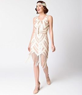 Vintage-1920s-Style-Ivory-Gold-Sequin-Deco-Fringe-Flapper-Dress-0-1
