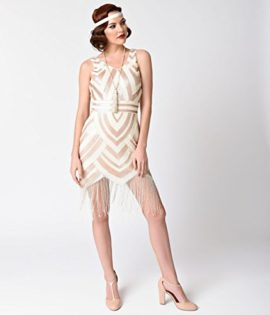 Vintage-1920s-Style-Ivory-Gold-Sequin-Deco-Fringe-Flapper-Dress-0-2