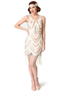 Vintage-1920s-Style-Ivory-Gold-Sequin-Deco-Fringe-Flapper-Dress-0
