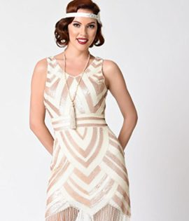 Vintage-1920s-Style-Ivory-Gold-Sequin-Deco-Fringe-Flapper-Dress-0-3