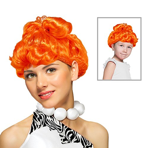 Wilma Wig Stone Age Wife Wig Costume In Cartoon Orange