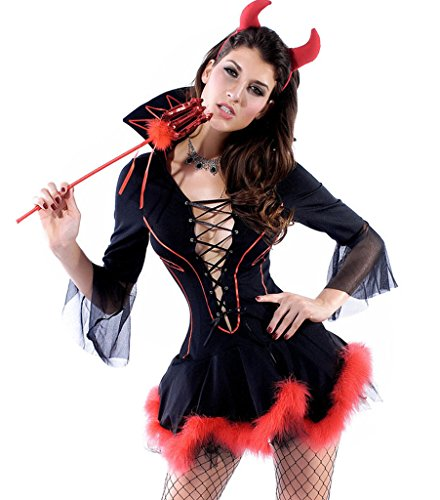 Wincolor Halloween Cosplay Sexy Devil Lady She-Devil Costume Mini Dress