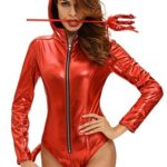 Women-Adult-Sexy-Bodysuit-Costumes-Metallic-Devilish-Hottie-Long-Tail-Playsuit-Hooded-Halloween-Costume-Catsuit-0