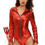 Women-Adult-Sexy-Bodysuit-Costumes-Metallic-Devilish-Hottie-Long-Tail-Playsuit-Hooded-Halloween-Costume-Catsuit-0-3