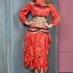 Women-Belly-Dancer-Skirt-Costume-Half-Top-Face-Veil-Bollywood-Gypsy-4-Piece-Set-0-1