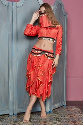 Women-Belly-Dancer-Skirt-Costume-Half-Top-Face-Veil-Bollywood-Gypsy-4-Piece-Set-0-2
