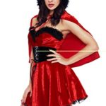 Womens-Adult-Little-Red-Damsel-Crop-Top-Red-Plush-Shawl-Xmas-Cherismas-Costume-Midi-Skater-Dress-with-Red-Hat-0-1