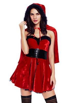 Womens-Adult-Little-Red-Damsel-Crop-Top-Red-Plush-Shawl-Xmas-Cherismas-Costume-Midi-Skater-Dress-with-Red-Hat-0