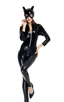 Womens-Halloween-Sexy-Catsuit-Cosplay-Costume-Cat-Mask-Jumpsuit-Cosplay-Bodysuit-0-0