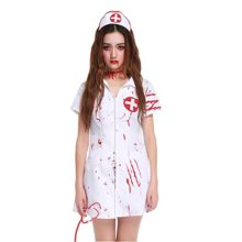 Womens-Horror-Zombie-Head-Nurse-Blooded-White-Halloween-Costume-Outfit-0