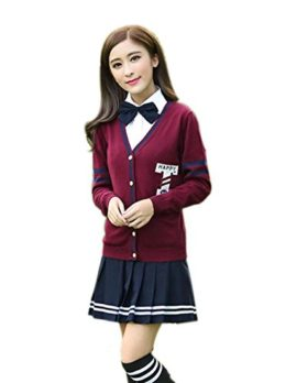 Womens-Long-sleeve-School-Uniform-British-Style-Costume-Knitted-Tops-Pleated-Skirt-Set-0-0