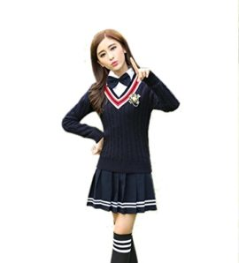 Womens-Long-sleeve-School-Uniform-British-Style-Costume-Knitted-Tops-Pleated-Skirt-Set-0-1