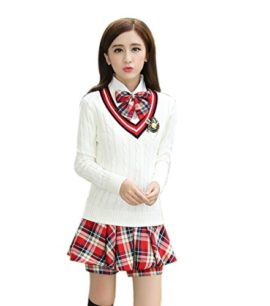 Womens-Long-sleeve-School-Uniform-British-Style-Costume-Knitted-Tops-Pleated-Skirt-Set-0-2