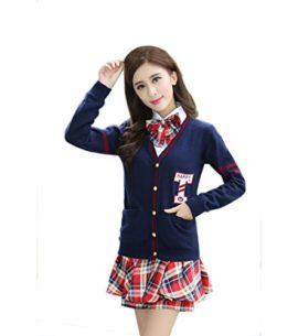 Womens-Long-sleeve-School-Uniform-British-Style-Costume-Knitted-Tops-Pleated-Skirt-Set-0