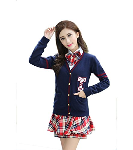 Women's Long sleeve School Uniform British Style Costume Knitted Tops Pleated Skirt Set