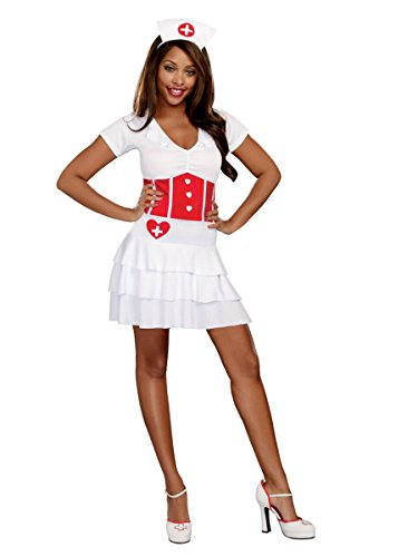 Womens Night Nurse Halloween Costume Dress & Headpiece Outfit
