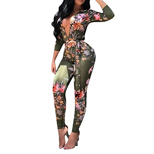 Women's Sexy Floral Deep V-Neck Long Sleeve Bodycon Long Pants Jumpsuit Rompers