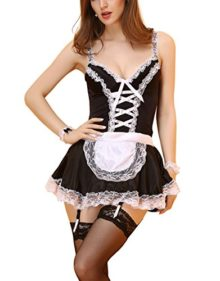 Womens-Sexy-Maid-Lingerie-Outfits-Pajamas-Custume-Set-0