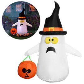 YUNLIGHTS-Halloween-Inflatable-Decorations-for-Halloween-4ft-Ghost-with-a-Witch-Hat-Pumpkin-0