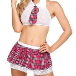 afferty-Womens-Sexy-School-Girl-Outfit-Cosplay-Halter-Rompers-Plaid-Skirt-Lingerie-Sets-0