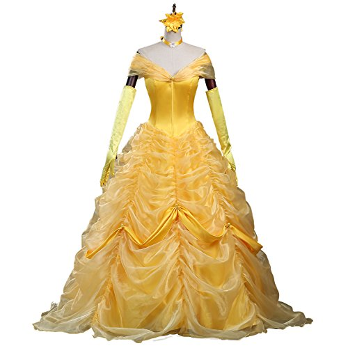 CLLMKL Adult Princess Belle Costume Beauty and The Beast Cosplay Dress