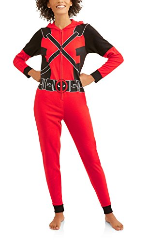 Deadpool Marvel Women's Cozy Fleece Union Suit Hooded Pajamas