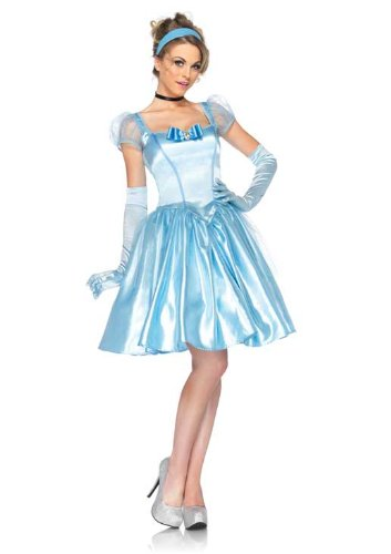Disney Leg Avenue 3Pc. Classic Cinderella Costume Satin Dress Choker and Headband