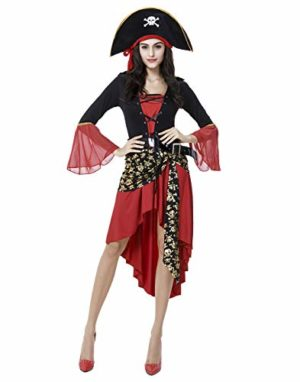 HDE-Womens-Pirate-Halloween-Costume-Long-Sleeved-Dress-with-Hat-Belt-Caribbean-Buccaneer-Outfit-0