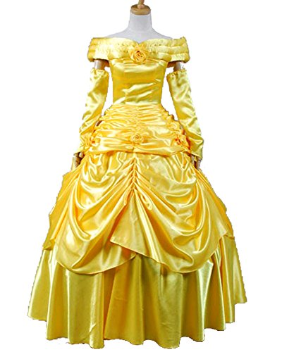 Sidnor Beauty and the Beast Princess Belle Evening Gown Dress Cosplay Costume