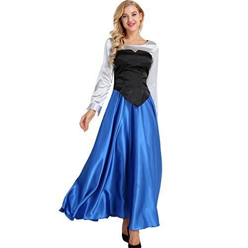 TiaoBug Women's Adult The Little Mermaid Ariel Cosplay Costume Set Princess Dress