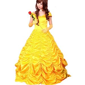 Wraith-of-East-Adult-Princess-Belle-Cosplay-Costume-Satin-Yellow-Dress-0