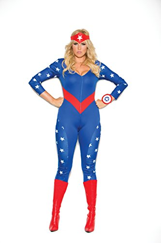Zabeanco Woman's Patriotic American Super Hero Role Playing Costume