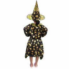 2-PCS-Cute-Kids-Girl-Halloween-Dress-Pumpkin-Witch-Star-Print-Dance-Dress-Wizard-Hat-Outfit-Set-0