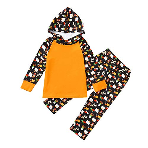 2Pcs Baby Girls Boys HalloweenCartoon Hoodie Tops+Pants Clothes Outfits Set