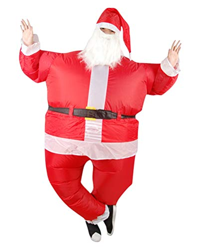 ACE SHOCK Inflatable Santa Claus Costume, Unisex Adults Father Christmas Cosplay Bodysuit Blow up Costume
