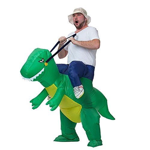 ANOTHERME Dinosaur Riding T-REX Inflatable Fancy Dress Halloween Party Blow Up Costume for Adults Child